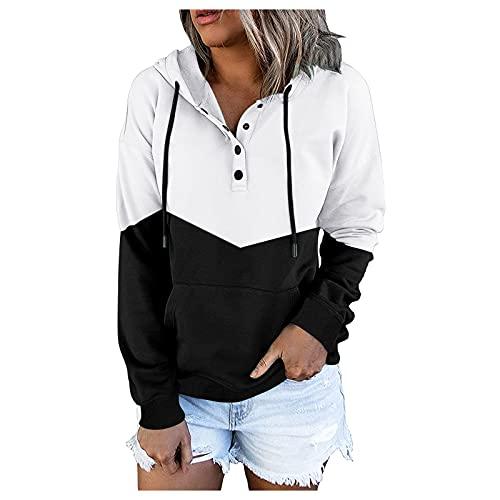 Briskorry Sudadera con capucha para mujer, tamaño grande, color negro, con bolsillo delantero de canguro, suelta, de manga larga, con capucha, Blanco, XXL