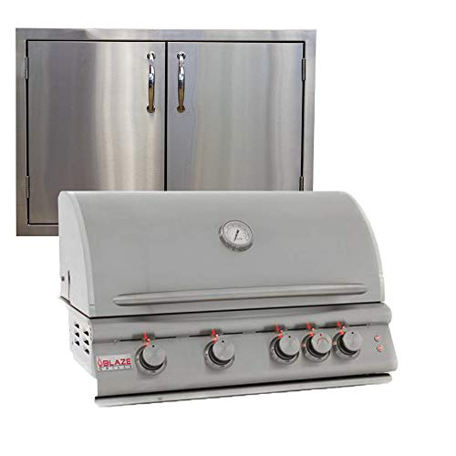 """Blaze Grills 32 Inch 4-Burner LTE Natural Gas Grill BLZ-4LTE-NG with Made in USA 30"""" Double Door Package Deal Gas Grills Natural"""