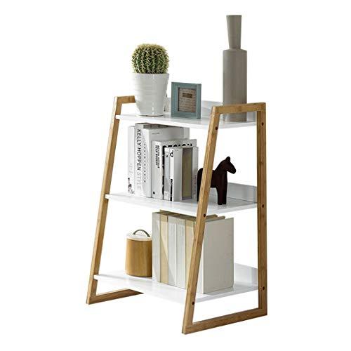 Estantería pequeña Estantería Trapezoidal Simple Soporte de Piso de Tres Pisos Sala de Estar Moderna Dormitorio Estante de Almacenamiento en Blanco Estantería pequeña para Escritorio