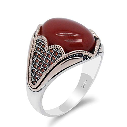 FashionAnimal Vintage anillo de piedra de ágata natural para hombres con anillo de pendiente natural de piedra de ágata 925 anillo de plata esterlina malvada joyería preciosa regalo