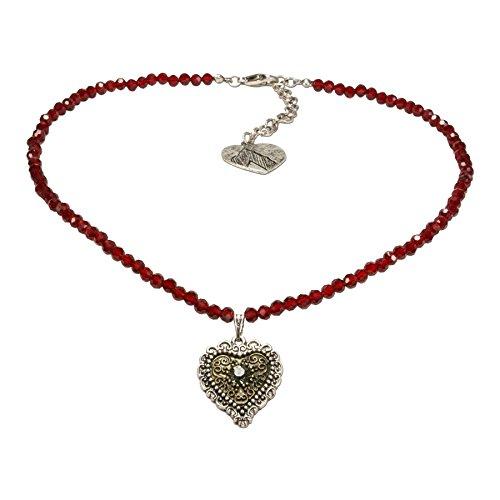 Alpenflüstern Perlen-Trachtenkette Trachtenherz - nostalgischer Damen-Trachtenschmuck mit Strass-Herz Bicolor-Farben, Filigrane Dirndlkette rot DHK184