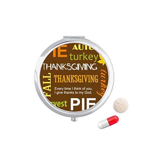 DIYthinker Thanksgiving dag herfst taart patroon Travel Pocket Pill Case Medicine Drug Opbergdoos Dispenser Spiegel Gift