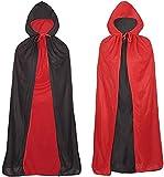 Capa con capucha unisex para adultos, Capa de Vampiro de Halloween,capa de vampiro con vestido rojo reversible, capa mágica de demonio, negra y roja, para fiesta de Halloween, 130cm.