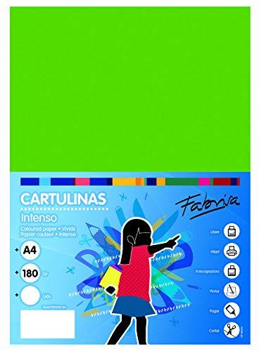 Pack 50 Cartulinas Color Verde Fuerte Tamaño A4 180g