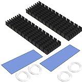 CTRICALVER Disipador Aluminio, Disipador de Calor SSD M.2, con Papel de Aluminio M.2 2280 SSD 70 mm × 22 mm × 6 mm (2 Piezas, Negro)