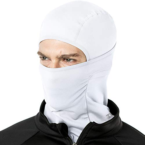TSLA Thermal Winter Balaclava Face Mask, UV Protection Fleece Lined Ski Mask, Lightweight Windproof Neck Gaiter, Thermal Balaclava(yzb03) - White, Medium