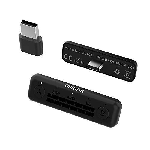 1Mii MiiLink Adattatore Bluetooth per Nintendo Switch / PC, Trasmettitore audio USB Bluetooth 5.0, Microfono integrato AptX a bassa latenza per Dual Link Cuffie Bluetooth , Altoparlanti Bluetooth