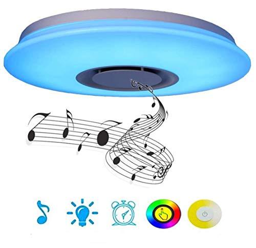 Preisvergleich Produktbild WIVION LED-Deckenleuchte Musik mit Fernbedienung Lampe,  eingebauter Bluetooth-Lautsprecher mit Fernbedienung,  Smartphone-App,  RGB-Farbwechsel,  Unterputz für Schlafzimmerparty, 48w / 60cm