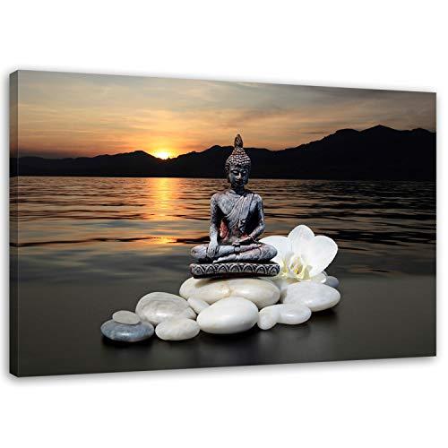 Feeby Frames Wandbild 80x120 cm Leinwand Bild Wandbilder Kunstdruck Buddha Steine Blume Orchidee See Sonnenuntergang GRAU