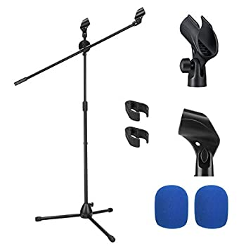Moukey Microphone Mic Stand Tripod Boom Microphone Stand with 2 Non-Slip Mic Clip Holders and 2 Foam Covers Collapsible and Adjustable Mic Stand Suitable for Shure SM7B and SM58 Black MMs-3