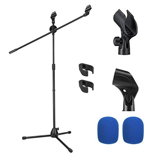 Moukey Microphone Mic Stand, Tripod Boom Microphone Stand with 2 Non-Slip Mic Clip Holders and 2 Foam Covers, Collapsible and Adjustable Mic Stand Suitable for Shure SM7B and SM58, Black, MMs-3