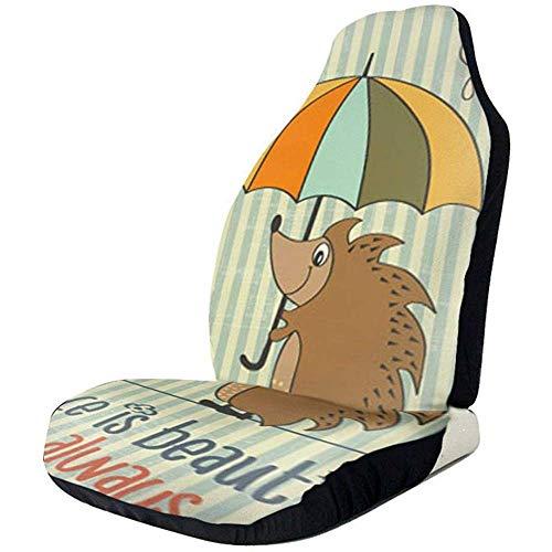 TABUE 2 stuks autostoelhoezen volledige set - met paraplu bedrukte autostoelhoezen, autostoelhoezen voor de meeste personenauto's, vrachtwagens, SUV's of bestelwagens