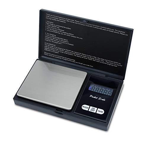 Intirilife Digitale Feinwaage in SCHWARZ – 200g Elektronische Taschenwaage mit Tara Funktion und LCD-Display – Extrem Präzise Digitalwaage für Schmuck, Münzen, Gold, Küche, Kochen