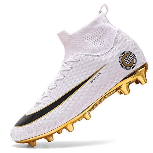 Scarpe da ginnastica con tacchetti alti, professionali, per sport agonistico, da uomo, per calcio, atletica, (8 Bianco J Ag), 39 1/3 EU