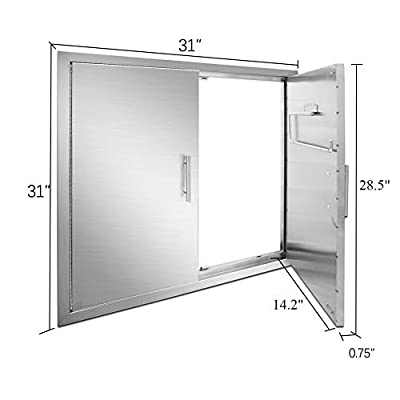 YXHARD 31 Inches BBQ Access Door, 304 Brushed Stainless Steel 31×31 Inches Outdoor Kitchen Double Door,Wall Construction for Outdoor Kitchen,BBQ Island, Outside Cabinet, Barbecue Grill