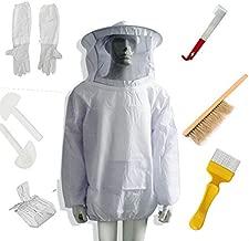 New Beekeeping Beekeeper Suit Bee Jacket&Gloves& Bee Hive Brush & J Hook Hive Tool Set 8 Kits