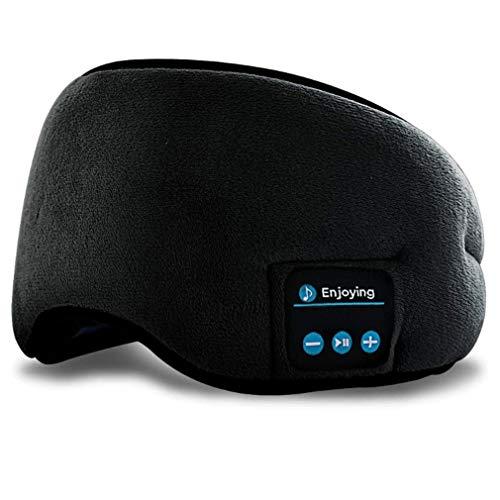 weichuang Schlafmaske für Damen und Herren, Bluetooth 5.0, kabellos, 3D-Schlafmaske, Stereo-Schlafmaske, Kopfband, Musik, Einschlafhilfe, weiche Augenbinde, Augenabdeckung, Patch, Farbe: Schwarz