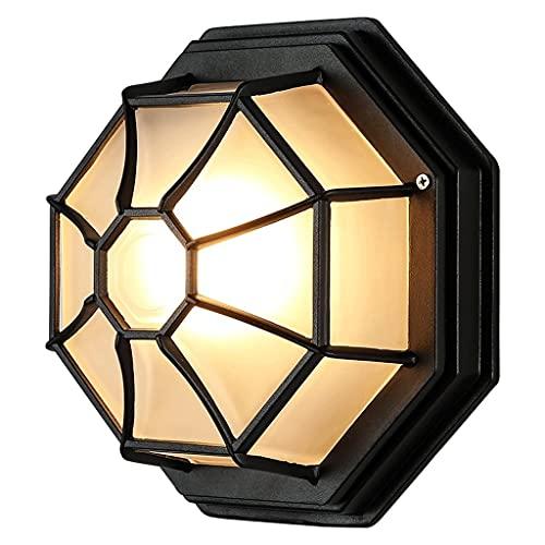 PJDOOJAE Lampadari Plafoniera Industriale Retro Impermeabile Lampada da soffitto/Plafoniere Alluminio Esagonale 6 Lati Nero IP44 Portico a Filo/Plafoniera da Esterno o da soffitto/Illuminazione