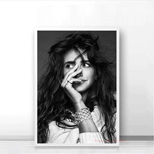 lubenwei Penelope Cruz Black and White Poster Modern Canvas Painting Wall Art Pictures Prints For Living Room Decor 40x50cm No frame AW-1500