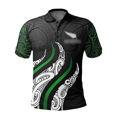 DIWEI Herren Rugby-Trikot, 2021 New Zealand Rugby-T-Shirt, Kurzarm-Sportbekleidung Mit Normaler Passform, Fußballspiel-Trainings-Poloshirt L