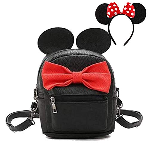 Puyang Girl Mini Mouse Ears Pu Leather Backpack with Red Polka Dot Bow Headband for Amusement Park School(Black+red)