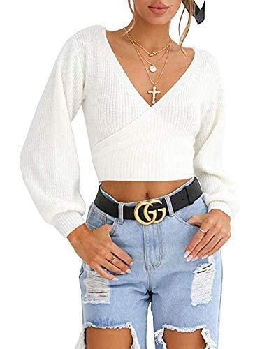 V-Neck Sweater Pullover Long Sleeve Oversized Loose Sweatshirts Beige M