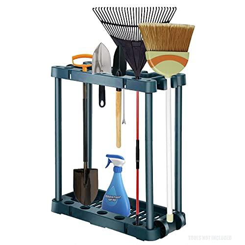 Garden Tool Organizer - Rolling Garden Tool Storage Rack Tower with 2 Wheels - Garden Tool Holder Holds 40 Yard Tools Like Rake, Shovel and Broom - Tool Organizers and Storage for Indoor and Outdoor