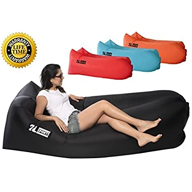 2L SPORTS Inflatable Air Lounger - Perfect for Travelling, Camping, Beach and Pool! Used as Air Chair, Hangout Sofa, Couch, Hammock, with carry bag. Easy to Inflate! (BLACK)