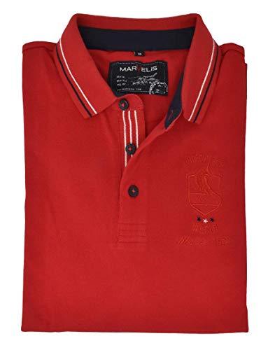 Marvelis Poloshirt Pique Halbarm Patch Kragen mit Besatz Rot Reine Baumwolle, Größe:XXL