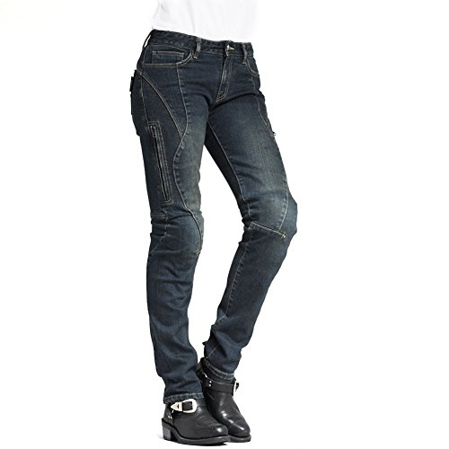 Maxler Damen Motorradjeans blau Kevlar Jeans Motorrad Biker Denim Hose Gr. 24-34 (34)
