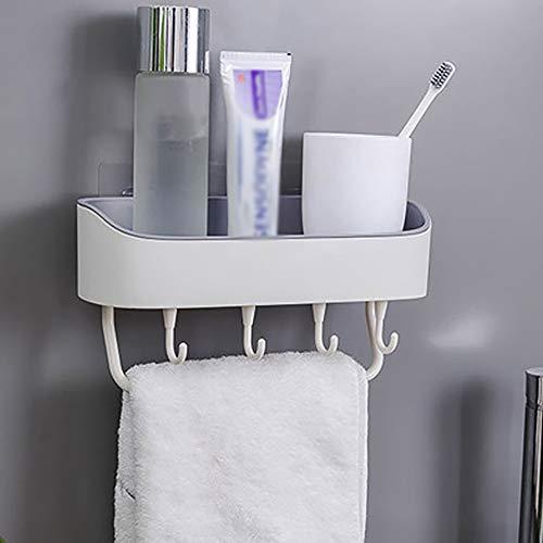 YGD Badkamer rek, wandplank/badkamer douche Caddy opslag rek, zonder boren, zelfklevende lijm met 4 haken voor het ophangen van badkamer accessoire (rechthoekig), B