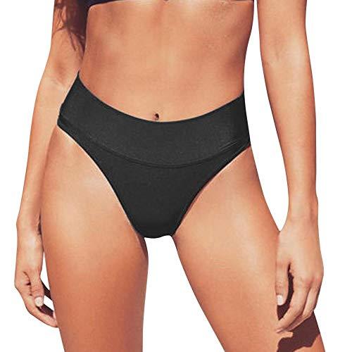 YEBIRAL Damen Bikinihose Bandage High Taillen Bikini Slip Brasilianisch Sommer Freche Unterseite Binden Tanga Bikini Bademoden Unterhose(L,Schwarz)