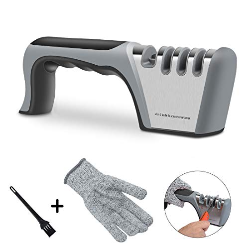 AURUZA Messerschärfer 4 in 1 Messerschleifer Haushaltsmesser Profi-Küchenmesser schärfen Formen und Schärfen Knife Sharpener mit Reinigungsbürste und Schnittfeste Handschuh