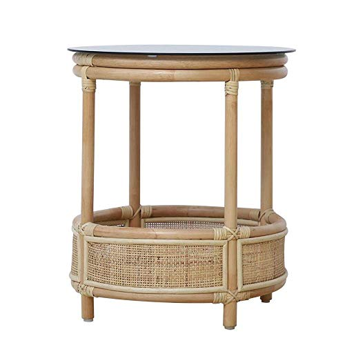 Tavolo da letto, Tavolini in rattan Tavolino in vimini, tavolino in vetro, comodino, tavolo singolo tavolino, tavolino da caffè, balcone tavolino da caffè, tavolino da caffè grigio fumo colore: fumo g