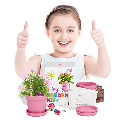 Uptown Farmer Kids: Fairy Garden Kit - Fairy Accessories for Girls – Outdoor Secret Garden Craft Kits - Stem Projects for Kids Age 8 w Figurines, Pots, USA Seeds + Soil
