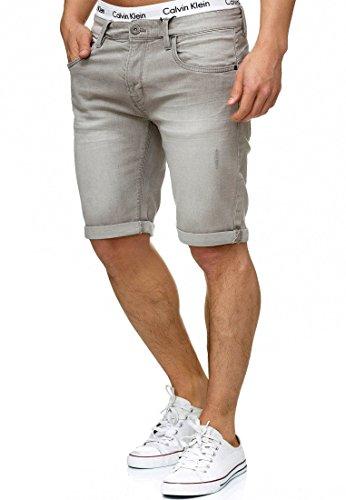 Indicode Herren Caden Jeans Shorts mit 5 Taschen aus 98% Baumwolle | Kurze Denim Stretch Hose Used Look Washed Destroyed Regular Fit Men Short Pants Freizeithose f. Männer Lt Grey S