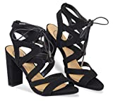 MVE Shoes Women's Lace Up Cage Gladiator Block Heel Dress Sandal, Black 6