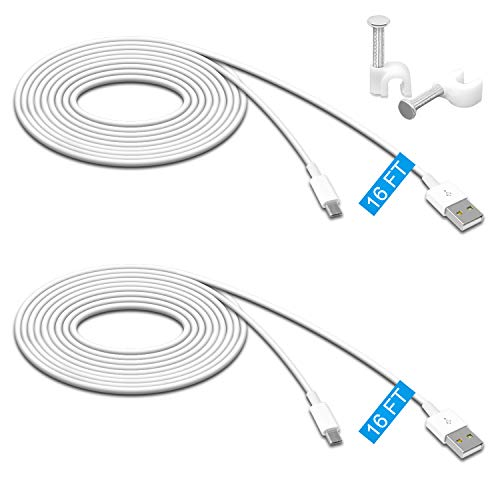 2 Pack 16.4FT Power Extension Cable for Wyze Cam Pan/WyzeCam/Kasa Cam/YI Dome Home Camera/Furbo Dog/Nest Cam/Blink/Oculus Go/Amazon Cloud Camera,USB to Micro USB Durable Charging and Data Sync Cord