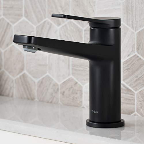 Kraus KBF-1401MB Indy Single Handle Basin Bathroom Faucet, Matte Black