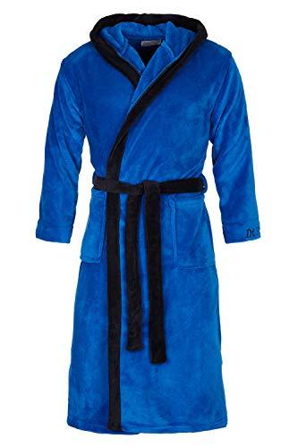 Di Ficchiano Herren Bademantel Monza mit Kapuze I Morgenmantel flauschig I Nachtwäsche aus edler Mirkofaser Farbe: Blue Black, Grösse: XXXL