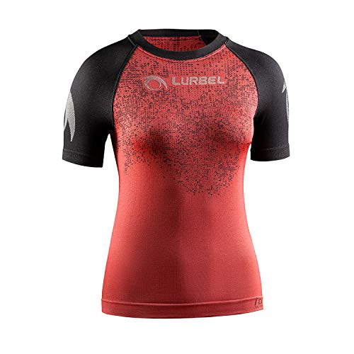Lurbel Samba Pixel Woman, Camiseta de Trail Running, Camiseta Deportiva de Mujer, Camiseta Transpirable y Anti-Olor, Camiseta para Correr. (Rojo - Negro, PEQUEÑA - S)