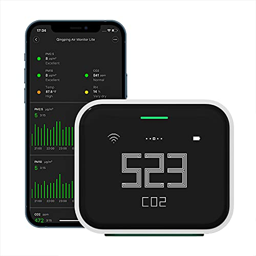 Qingping Air Monitor Lite, Apple HomeKit Compatible Wi-Fi Air Quality Sensor Detects Indoor CO2, PM2.5, PM10, Temperature and Humidity …