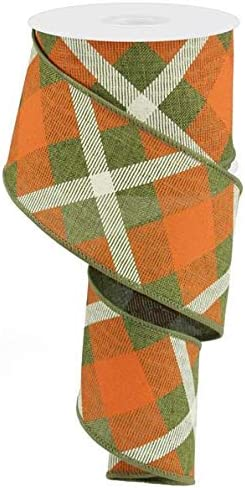 Emerald GreenRedWhite Christmas Wired Ribbon Printed Plaid Ribbon 1.5 Wide X 10 Yard Royal Burlap