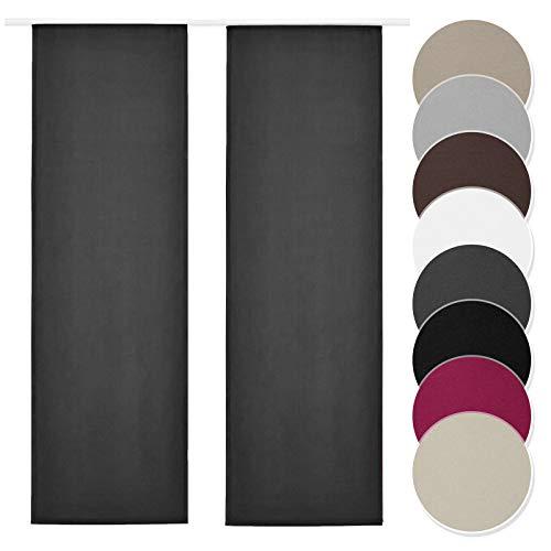 Melody Schiebegardine 2er Set grau Blickdicht Raumtrenner mit Klettband Paneelwagen 60x245cm einfarbig #9018