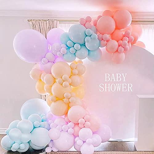 Globos Guirnalda Kit para Baby Shower,MMTX 111 piezas Fiesta Decoración Globos con Rosa&Azul Látex Globo,Amarillo Morado Globo Arco para Revelación de Género,Cumpleaños Fiesta,Boda Globo(Pink)