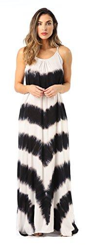 Riviera Sun 21772-BLK-S Summer Dresses Maxi Dress Sundresses for Women Black/White
