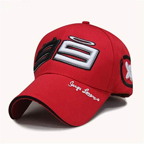 SunAll Moto GP Jorge Lorenzo 99 los Sombreros for los Hombres del Casquillo Racing Algodón Marca Motociclismo Las Gorras de béisbol de Coches Sun Snapback Sombrero Negro (Color : Rojo)