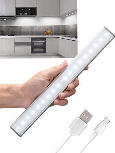 Luci da armadio, con sensore di movimento, 20 LED, ricaricabili tramite USB, con striscia magnetica adesiva, per armadio, armadio, cucina, credenza (caldo, 4 modalità) Luce calda