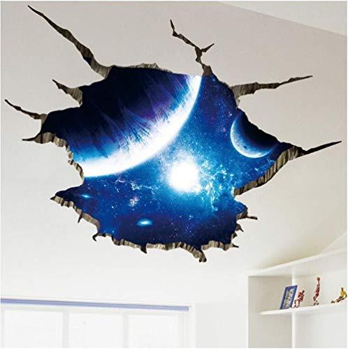 TYTLYA Pegatinas Dormitorio Salón Vinilo Pegatinas Decorativo Interior Bebé Sala Mural 3D Espacio Universo Impermeable Sofá Extraíble Decoración De Fondo Autoadhesivo Pintura De Pared