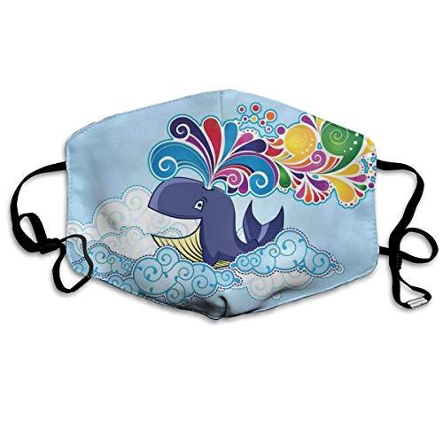 Comfortabele Ma-sk Mond Cover,Cartoon Stijl Vliegende Gelukkige Walvis Op Wolken Met Regenboog Klompen Op Zijn Hoofd, Gedrukte Gezichtsdecoraties